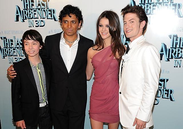 M. Night Shyamalan, Jackson Rathbone, Nicola Peltz, and Noah Ringer at The Last Airbender (2010)