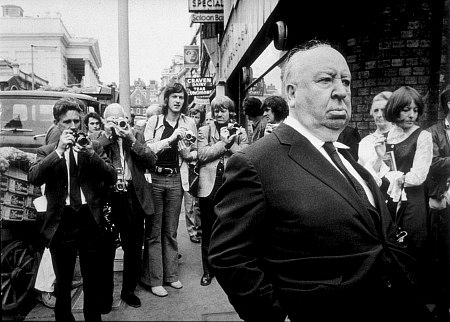 Alfred Hitchcock on the set of