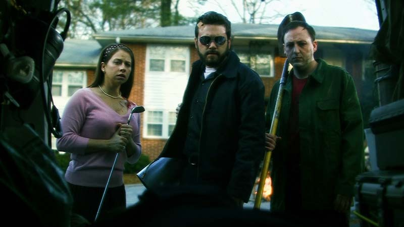 Cheri Christian, Scott Poythress, and AJ Bowen in The Signal (2007)