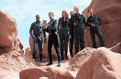 The crew on an alien planet