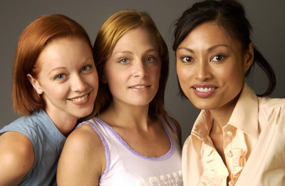 Lindy Booth, Kira Clavell, and Tara Spencer-Nairn at an event for Rub & Tug (2002)