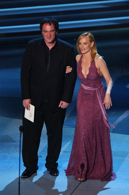 Quentin Tarantino and Marg Helgenberger at The 57th Annual Primetime Emmy Awards (2005)