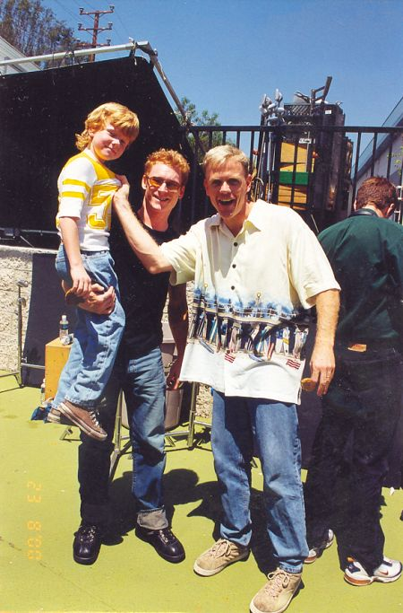 Adam Hicks (left) with Zack Ward (center) and Chris Titus (right) on the set of