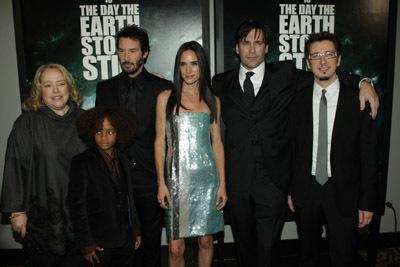 Jennifer Connelly, Keanu Reeves, Kathy Bates, Scott Derrickson, Jon Hamm, and Jaden Smith at The Day the Earth Stood Still (2008)