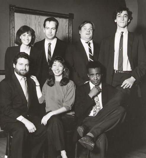 The Second City Cast 1989 (Chicago Main Stage); back row (l to r) - Jill Talley, Bob Odenkirk, Chris Farley, David Pasquesi; front - Tim O'Malley, Holly Wortell, Tim Meadows