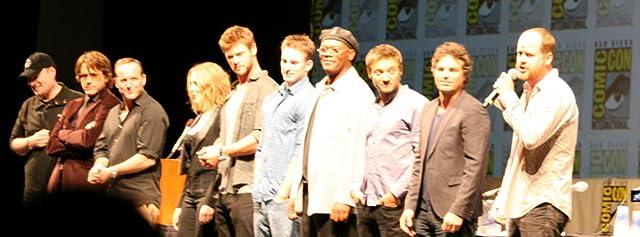 Samuel L. Jackson, Robert Downey Jr., Clark Gregg, Chris Evans, Kevin Feige, Scarlett Johansson, Jeremy Renner, Mark Ruffalo, Joss Whedon, and Chris Hemsworth at The Avengers (2012)