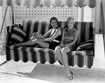 Norma Talmadge and Constance Talmadge at a beach house in Santa Monica, circa late 1920's / **I.V.