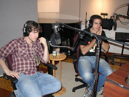 Rider Strong and Eli Roth recording their audio commentary for the