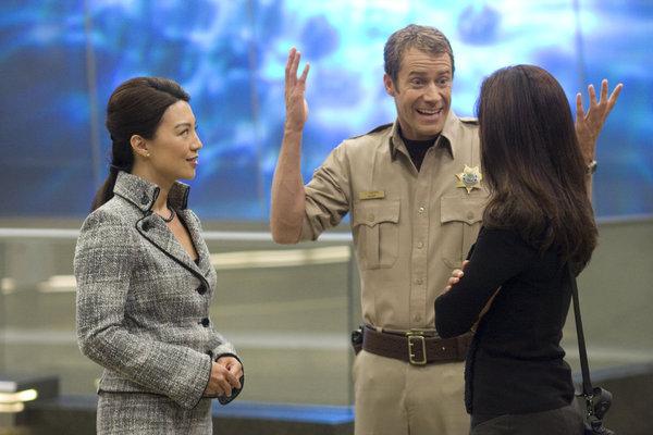 Ming-Na Wen, Colin Ferguson, and Salli Richardson-Whitfield in Eureka (2006)