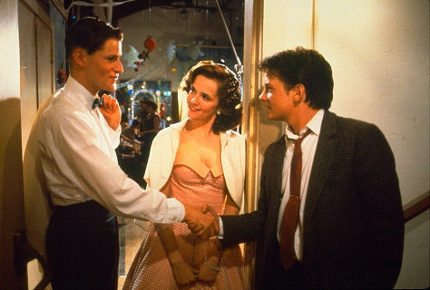 Michael J. Fox, Crispin Glover, and Lea Thompson in Back to the Future (1985)