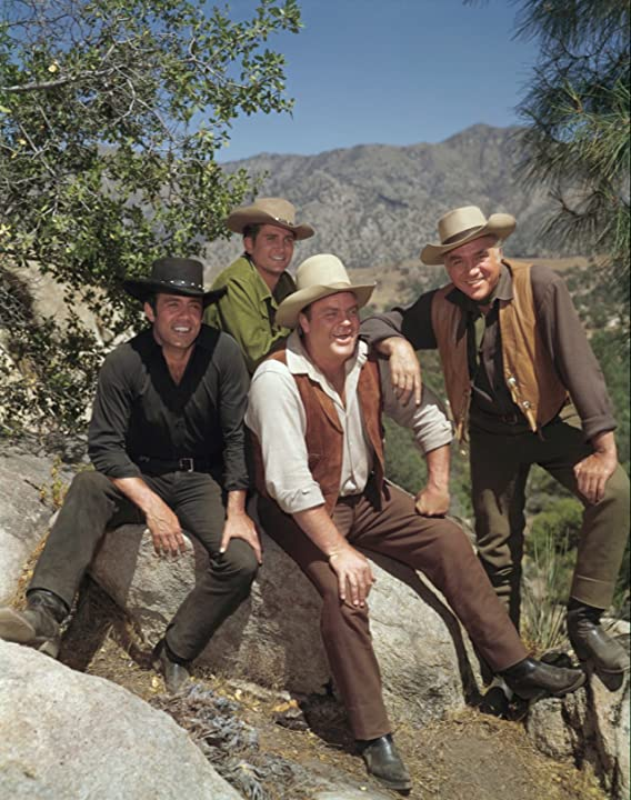 Lorne Greene, Michael Landon, Dan Blocker, and Pernell Roberts in Bonanza (1959)
