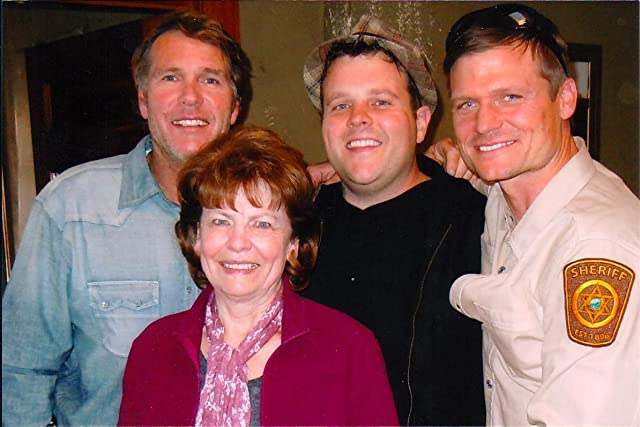 On the set of LONGMIRE with actors Robert Taylor, Adam Bartley, and Bailey Chase.