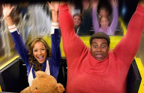 Fat Albert (Kenan Thompson) discovers love in the real world, with Lauri (Dania Ramirez).