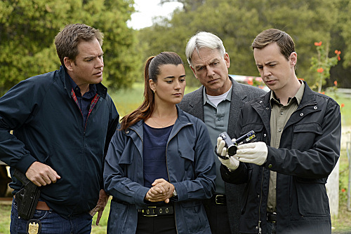 Mark Harmon, Sean Murray, Michael Weatherly, and Cote de Pablo in NCIS (2003)