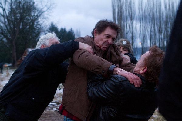 Sherilyn Fenn, Bruce Davison, Danny Bonaduce, and Barry Williams in Bigfoot (2012)