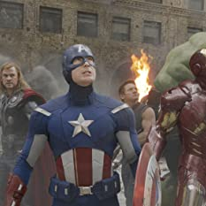 Robert Downey Jr., Chris Evans, Scarlett Johansson, Jeremy Renner, Mark Ruffalo, and Chris Hemsworth in The Avengers (2012)