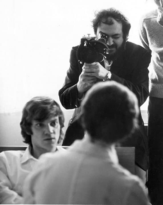 Stanley Kubrick and Malcolm McDowell in A Clockwork Orange (1971)