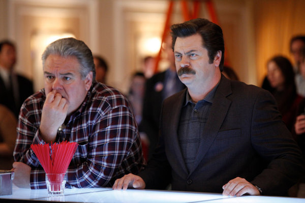 Jim O'Heir and Nick Offerman in Parks and Recreation (2009)