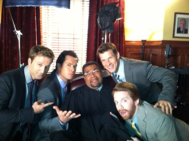on the set of Franklin and Bash - Beau Billingslea, Breckin Meyer, Mark-Paul Gosselaar, Eric Mabius, Seth Green