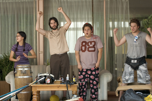 Seth Rogen, Martin Starr, Jonah Hill, and Charlyne Yi in Knocked Up (2007)