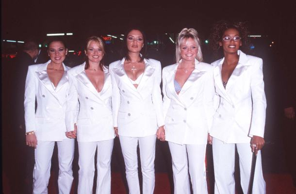 Geri Horner, Emma Bunton, Melanie C, Victoria Beckham, and Melanie Brown at Spice World (1997)