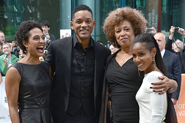 Will Smith, Jada Pinkett Smith, Angela Davis, and Shola Lynch at an event for Free Angela and All Political Prisoners (2012)