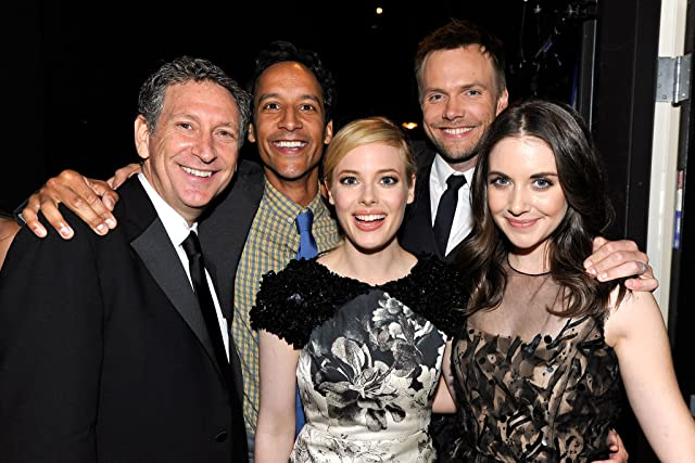 Russ Krasnoff, Joel McHale, Alison Brie, Gillian Jacobs, and Danny Pudi at an event for Community (2009)