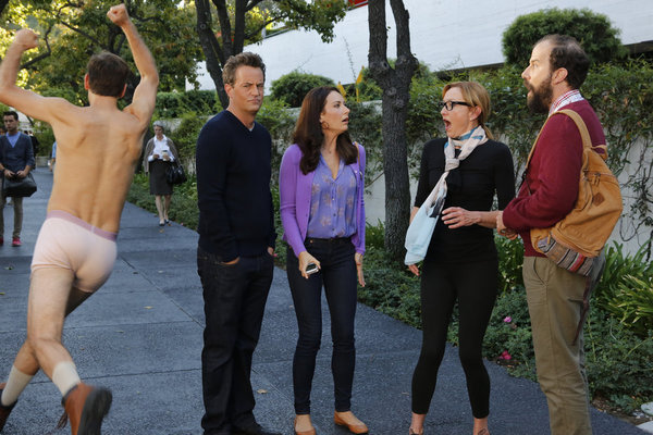 Matthew Perry, Julie White, Laura Benanti, Brett Gelman, and Seth Morris in Go On: Any Given Birthday (2012)