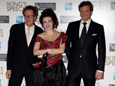 Colin Firth, Helena Bonham Carter, and Geoffrey Rush