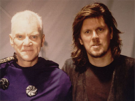 Malcolm McDowell and Tony Kenny on the set of