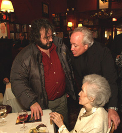 Directors Peter Jackson and Rick McKay with actress Fay Wray at the Sardi's after party following the June 2004 NYC premiere of McKay's film,