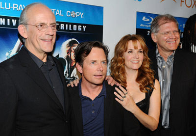 Michael J. Fox, Christopher Lloyd, Lea Thompson, and Robert Zemeckis at an event for Back to the Future (1985)