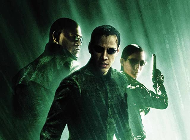 Keanu Reeves, Laurence Fishburne, and Carrie-Anne Moss in The Matrix Revolutions (2003)