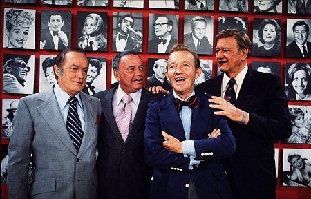 John Wayne, Bob Hope, Frank Sinatra, and Bing Crosby, 1970.