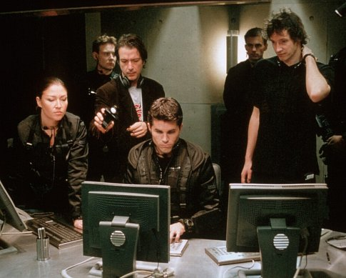 Paul W.S. Anderson, Liz May Brice, Martin Crewes, and David Johnson in Resident Evil (2002)
