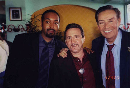Jesse Martin, Jorge Pupo, and Jerry Orbach on the set of the
