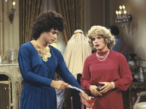 Tom Hanks and Peter Scolari in Bosom Buddies (1980)