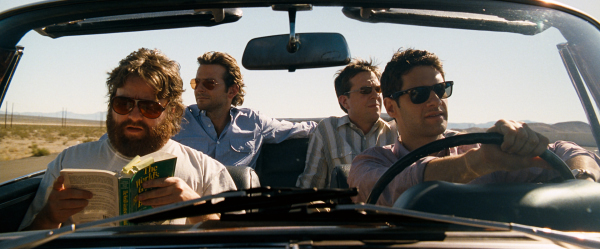 Justin Bartha, Bradley Cooper, Zach Galifianakis, and Ed Helms in The Hangover (2009)