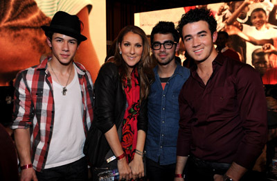 Céline Dion, Kevin Jonas, Joe Jonas, and Nick Jonas