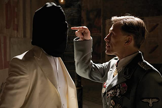 Still of Brad Pitt and Christoph Waltz in Inglourious Basterds