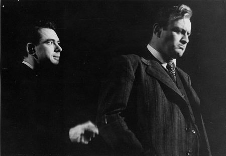 DON KEEFER as Bernard and LEE J. COBB as Willy Loman in DEATH OF A SALESMAN