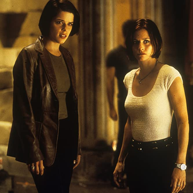 Neve Campbell and Courteney Cox in Scream 2 (1997)