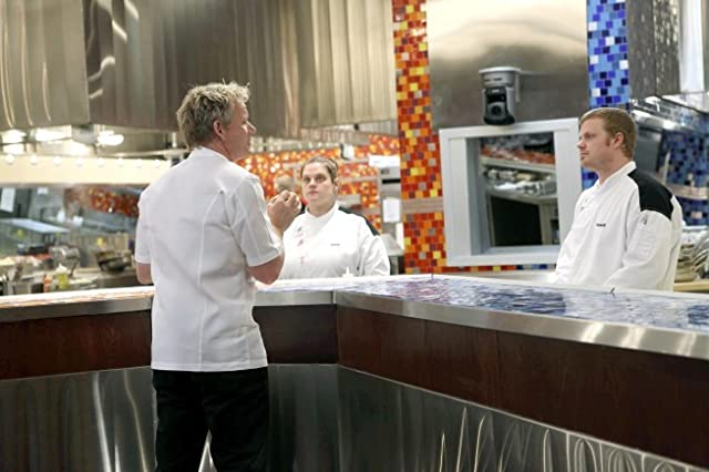 Gordon Ramsay, Nona Sivley, and Russell Kook II in Hell's Kitchen (2005)