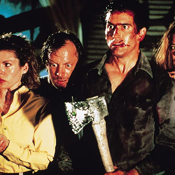 Sarah Berry, Bruce Campbell, Kassie Wesley DePaiva, and Dan Hicks in Evil Dead II (1987)