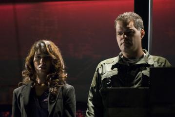 Aaron Douglas and Rekha Sharma in Battlestar Galactica (2004)