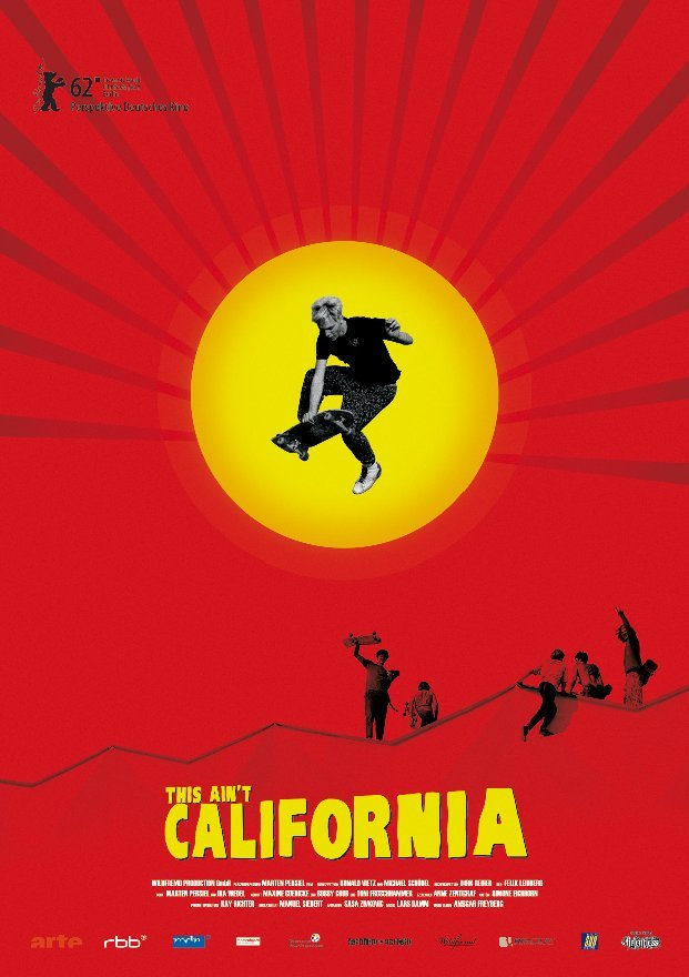 Poster for the film 'This Ain't California', depicts man performing arial trick over mountains.