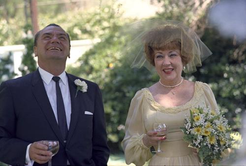 Ernest Borgnine and Ethel Merman on their wedding day