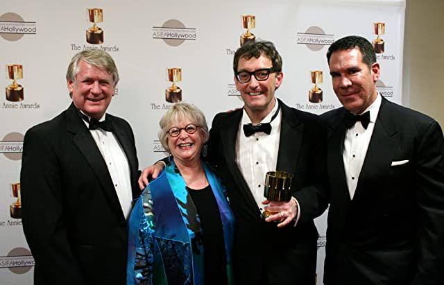 TV voice actor winner Tom Kenny with presenters Bill Farmer, Russi Taylor, and Tony Anselmo (voices of Goofy, Minnie Mouse, and Donald Duck)
