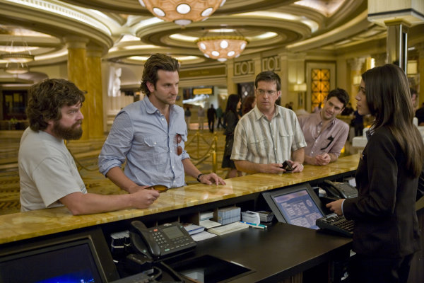 Justin Bartha, Bradley Cooper, Zach Galifianakis, Ed Helms, and Nathalie Fay in The Hangover (2009)