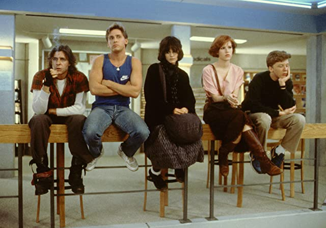 Molly Ringwald, Emilio Estevez, Judd Nelson, Ally Sheedy, and Anthony Michael Hall in The Breakfast Club (1985)